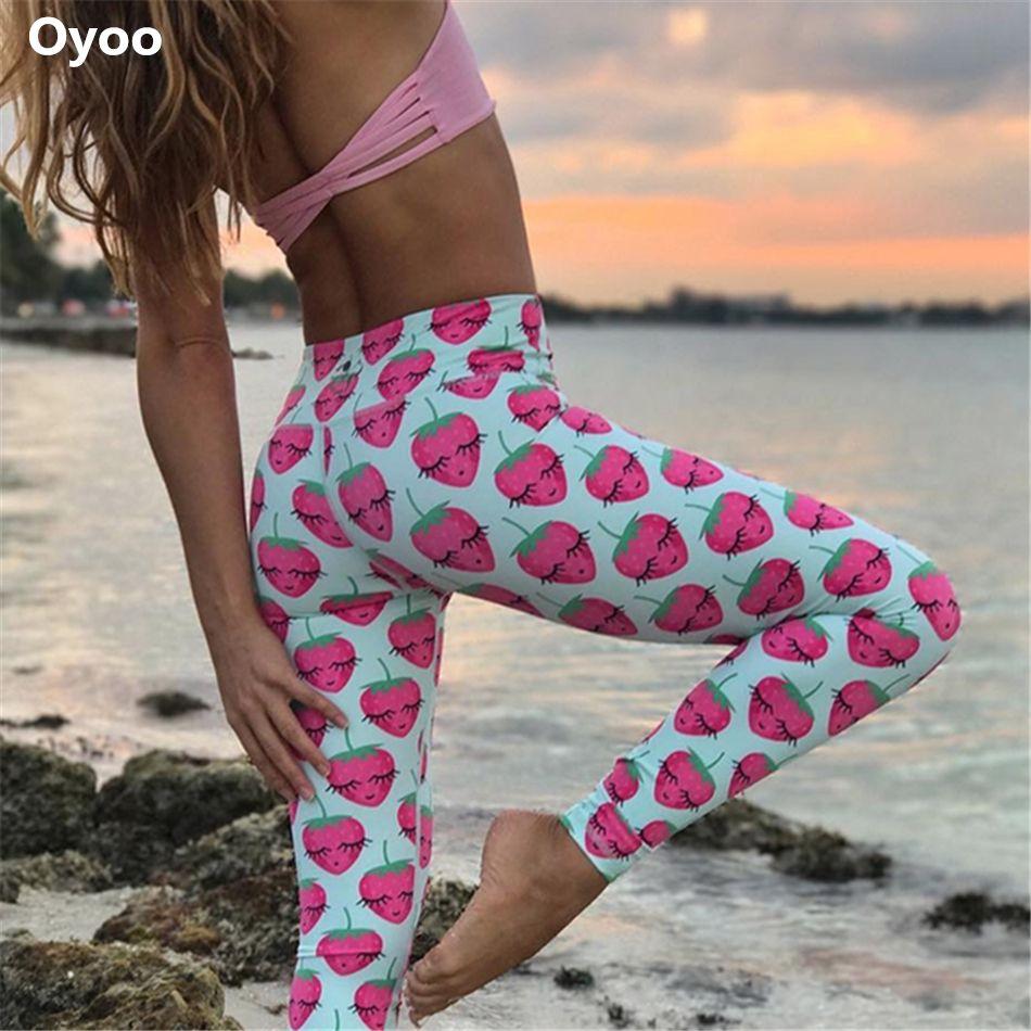 Oyoo Drôle Fraise imprimé athletic yoga leggings femmes courir sport collants filles bébé bleu ananas fitness legging