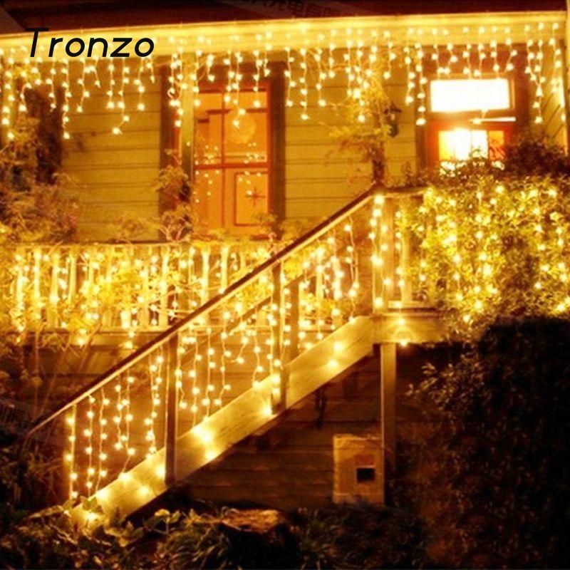 Tronzo DIY Tree LED Light Ornament 4m Multicolor Icicle Curtain Party Wedding Decoration Lights For Home 2017 EU Plug