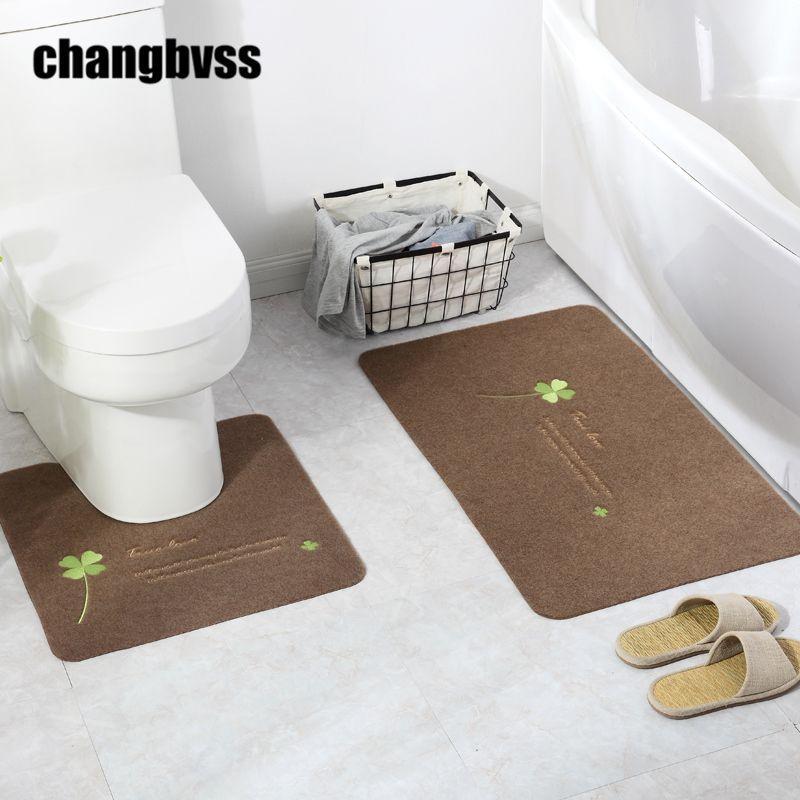 2 pièces/ensemble pas cher élégant fleur impression tapis de bain, en forme de U et carré tapis de toilette tapis de bain tapis salle de bains outil livraison gratuite