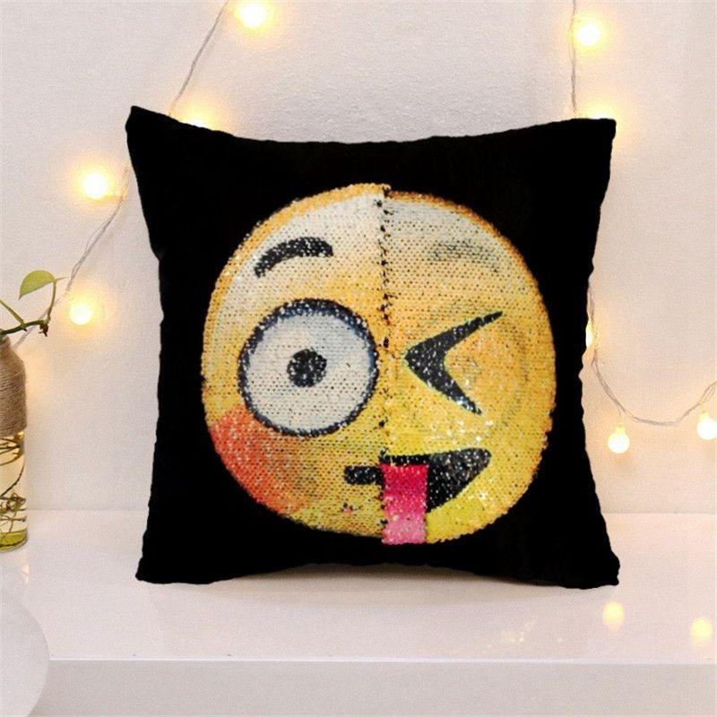 2017 new cute DIY changing face emoji decorative pillows sequin Mermaid Pillow smiley face pillow sofa cushion home decor