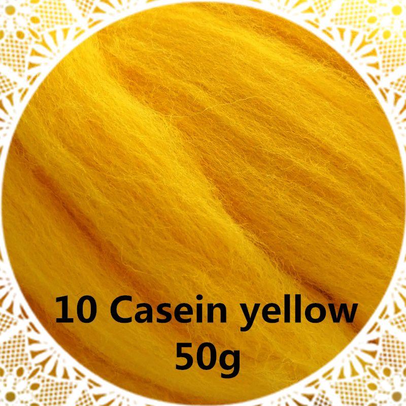 Livraison gratuite main Feutre De Laine pour le feutrage 50g Caséine jaune Parfait en Feutre Aiguilleté 09 #