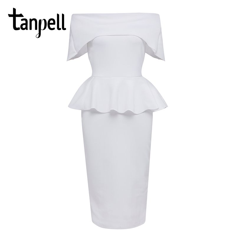 Tanpell slash neck cocktail dress white short sleeves tea length bodycon gown cheap women backless formal party cocktail dresses
