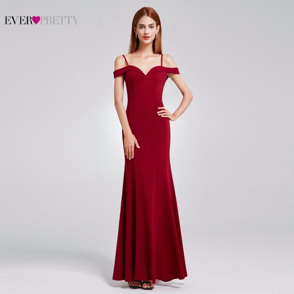 Prom Dresses Sexy V-neck Women's Elegant Off-the-shoulder Sleeveless Long Prom Party Dresses Ever Pretty EP07017 2018