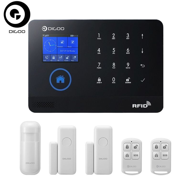 DIGOO DG-HOSA 3G 433 MHz Wireless Schwarz GSM & WIFI DIY Smart Home Security Alarm Systeme Kits Infrarot-bewegungsmelder Sensor Tür Magnetismus
