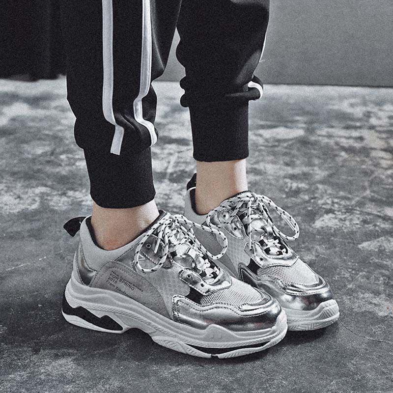Jookrrix 2018 Spring Fashion Brand Lady Casual Vulcanized Platform Shoes Women White Shoe Girl Leisure Sneaker Silver Breathable