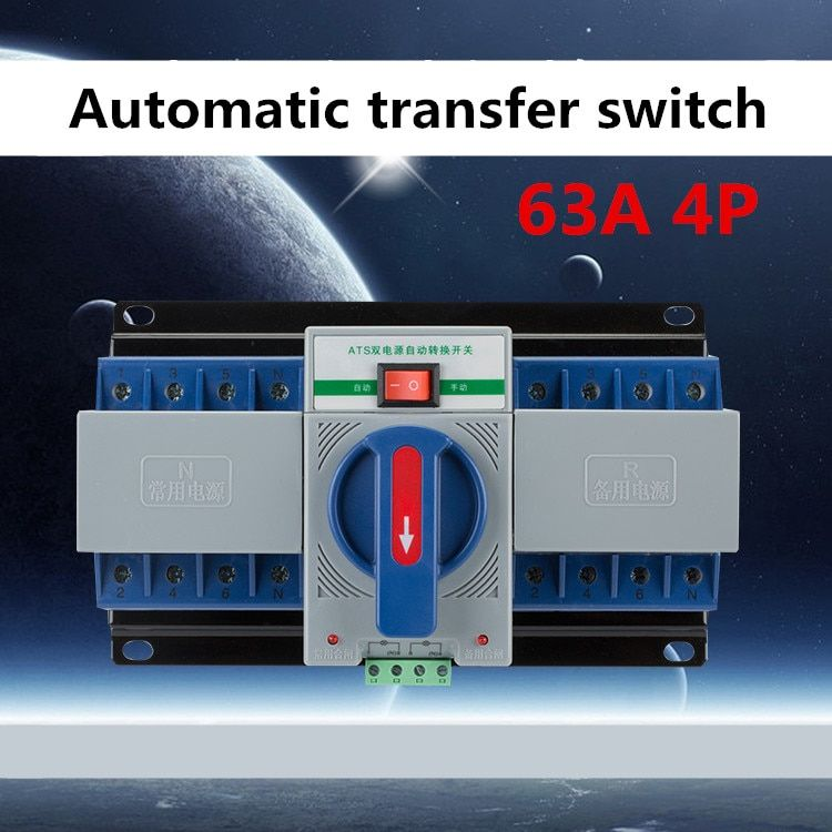 4P 63A 380V MCB type Dual Power Automatic transfer switch ATS BLUE COLOR