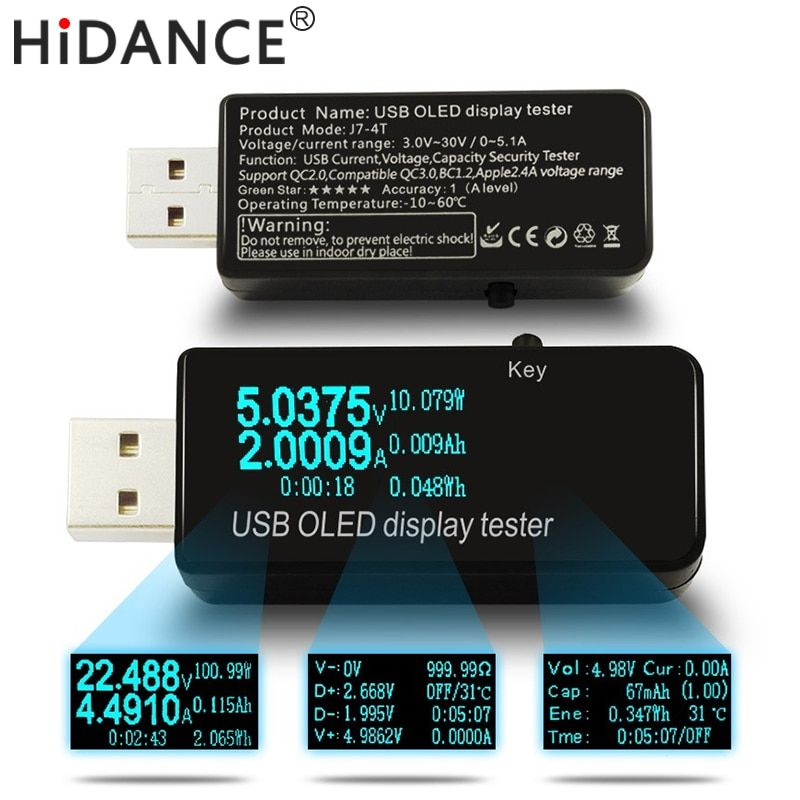 OLED 128x64 USB Tester DC voltmeter current voltage Meters Power Bank battery <font><b>Capacity</b></font> monitor qc3.0 Phone charger detector