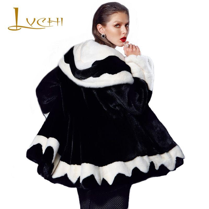 LVCHI Winter fur Mink Outerwear for women sexy turn-down collar desgin wave cut feminine coat the newest solid Fur coat mink