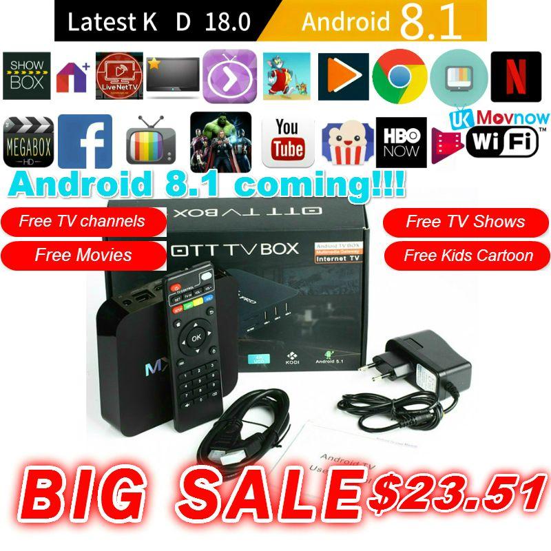 TTVBOX MX Pro 4K Android TV Box Latest KD 18.0 Android 8.1 OS 1GB 8GB RK3229 4K 2.4GHz WIFI Quad Core Smart TV Box Media Player