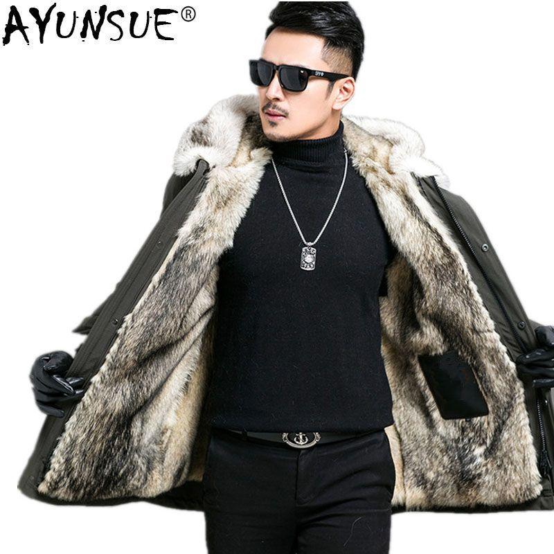 AYUNSUE Parka Men Real Fur Coat Winter Jacket Men Real Wolf Fur Liner Long Coats Plus Size Jackets 4xl 5xl Parka Homme MY1208