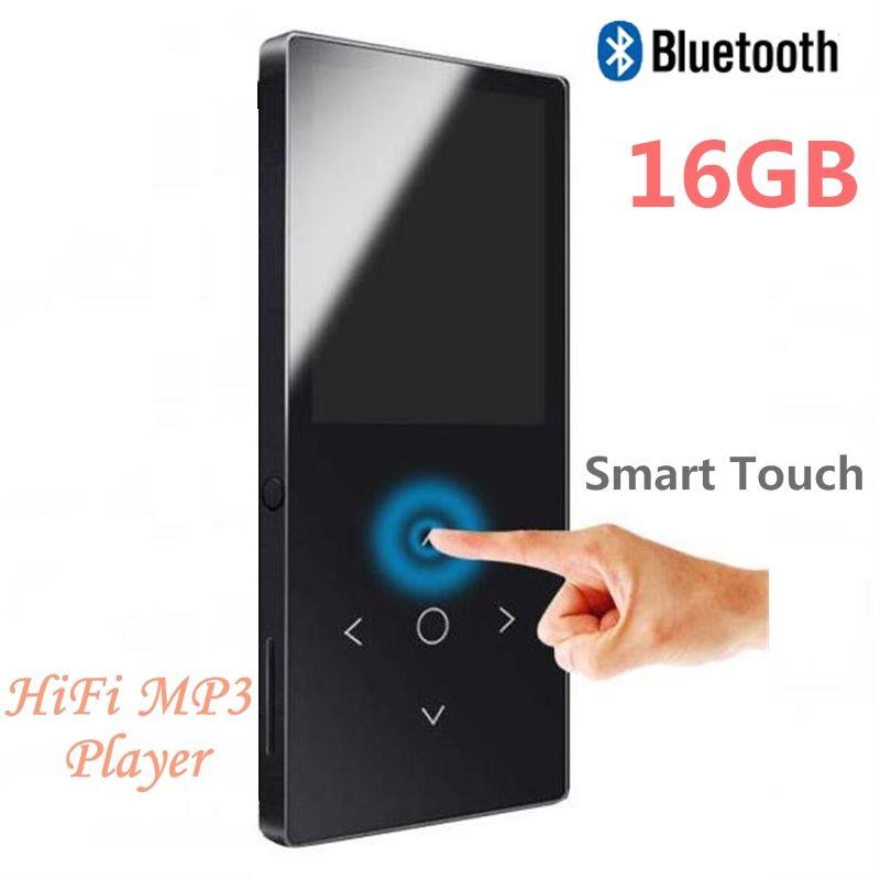 Plus récent 16GB Bluetooth 4.1 MP3 lecteur de musique touche tactile Ultra mince 1.8 pouces couleur écran HiFi qualité son avec FM, enregistreur vocal
