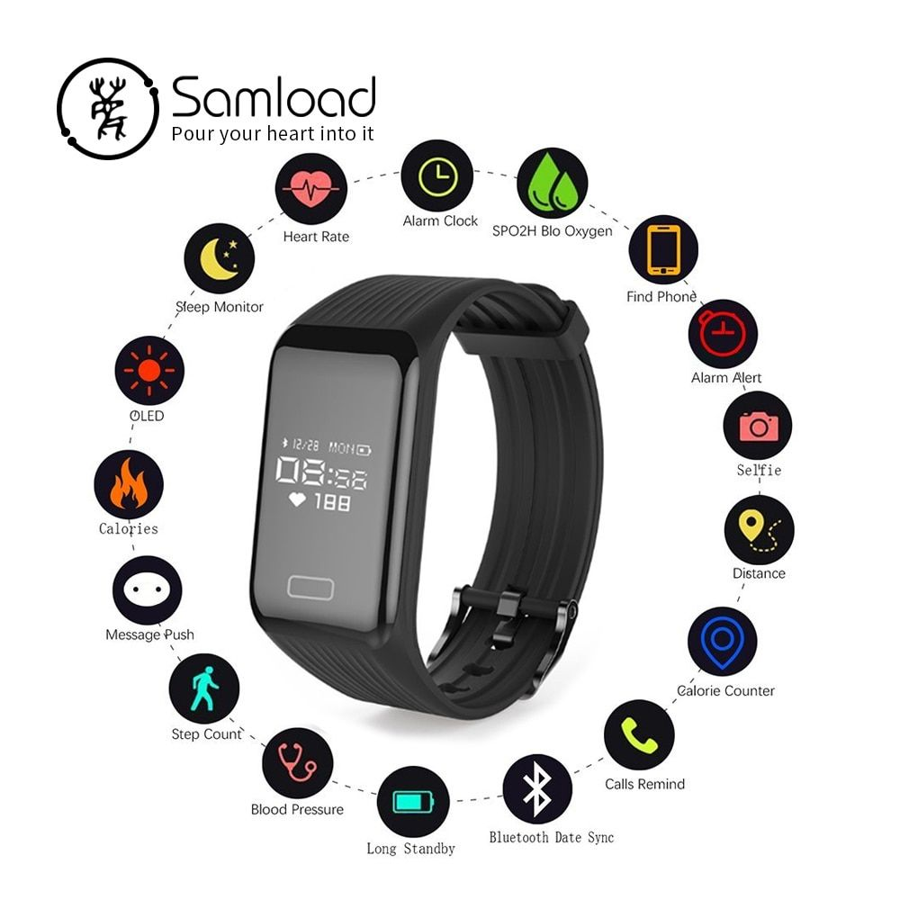 Samload Wireless Smart Bracelet Fitness Tracker Wristband Waterproof Continuous Heart Rate Sleep Step For <font><b>iPhone7</b></font> 8 Xiaomi Sony