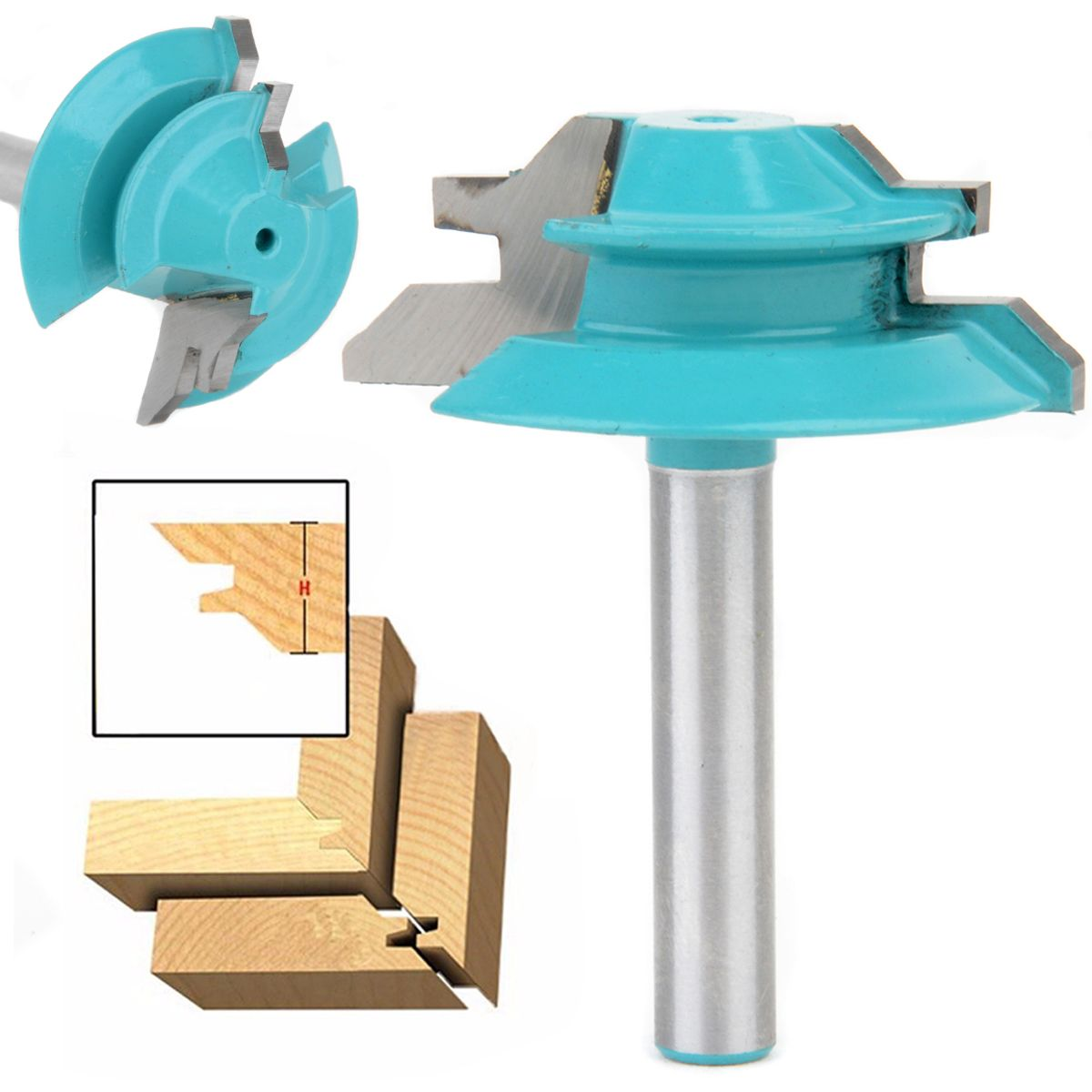 45 Degree Lock Miter Router Bit 1-1/2