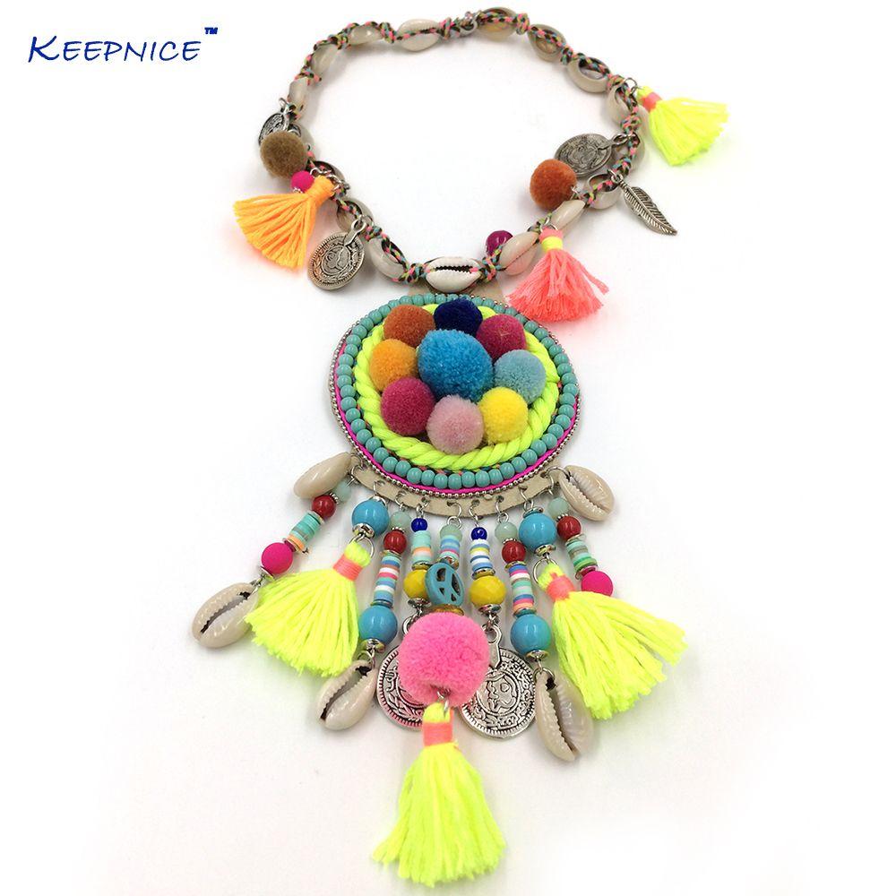 Nouveau Boho fait à la main Chokers Collier bohème coloré pompon pendentifs Collier femmes mer plage gland charme