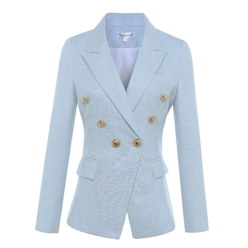 HIGH QUALITY Newest 2017 Designer Blazer Women's Long Sleeve Double Breasted Metal Lion Buttons Blazer Jacket Outer