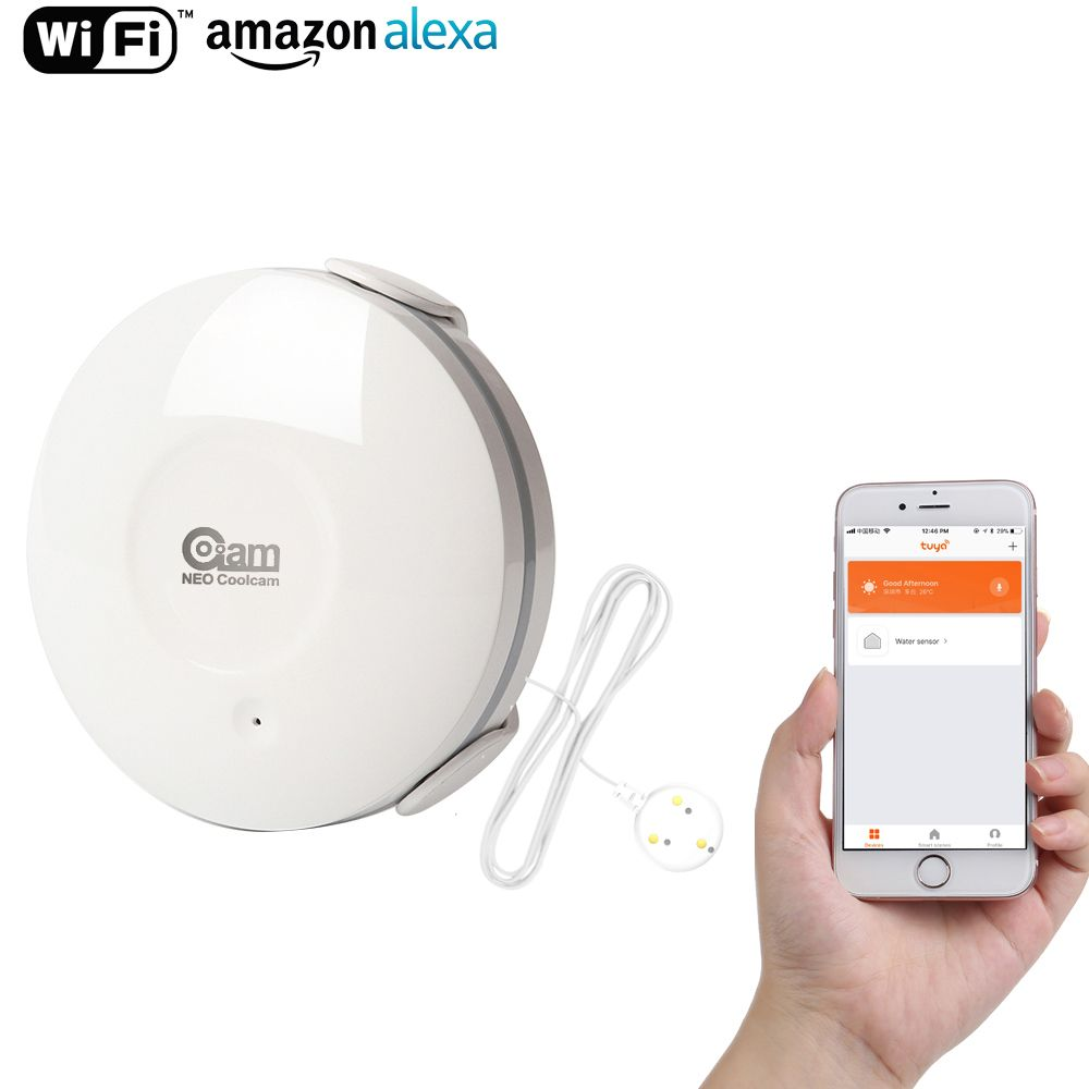 Coolcam Smart Water Sensor WiFi , Water <font><b>Flood</b></font> Wi-Fi and Leak Detector Alarm Sensor and App Notification Alerts, No Hub Operated