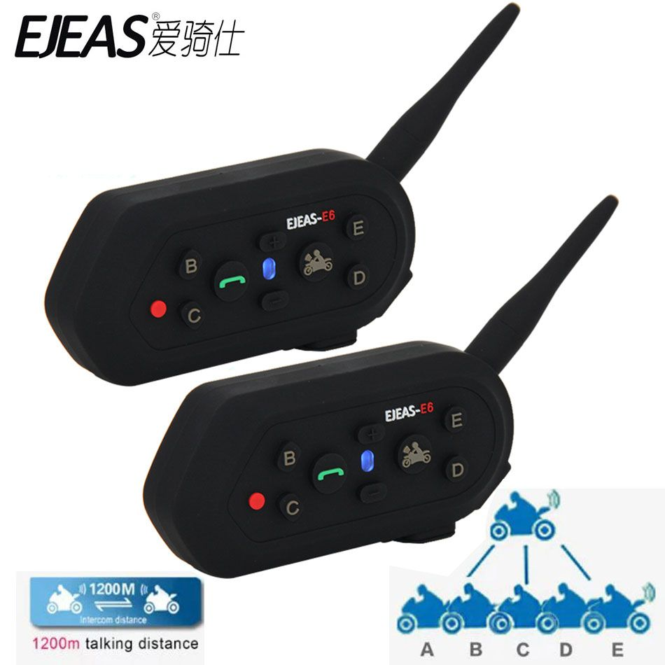 2 pcs 2017 Multifunction E6 <font><b>Motorcycle</b></font> Intercom VOX BT Headset Helmet Interphone Bluetooth Intercom for 6 Riders 1200M Communica