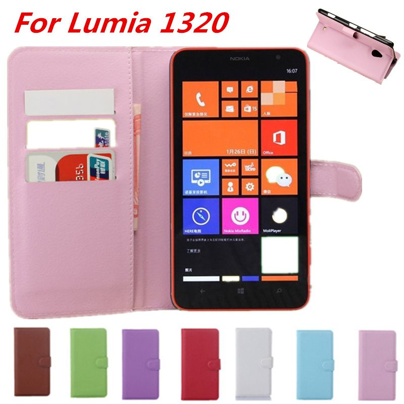 Luxury Litchi Leather Flip Case For Nokia Lumia 1320 With Wallet Card Holder Hard Silicon PC Back Cover Coque For Nokia 1320 Red