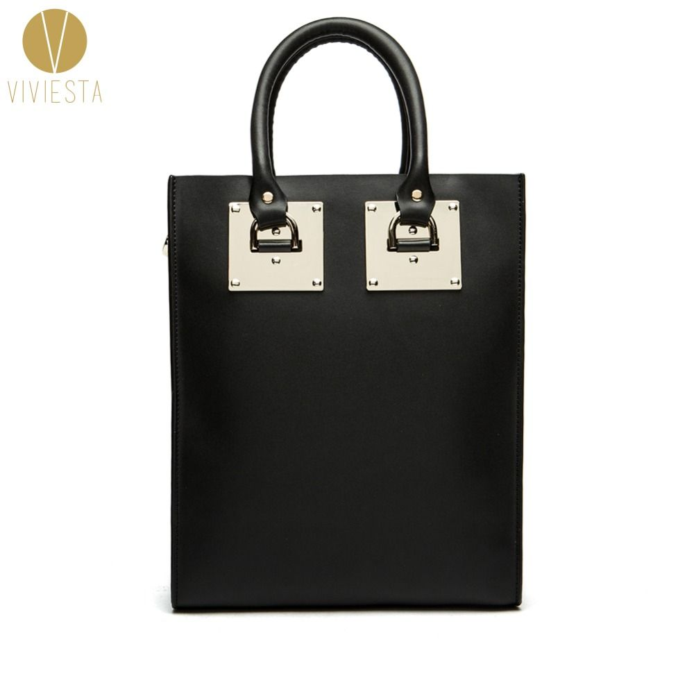GENUINE LEATHER METAL PLATE LARGE STRUCTURED TOTE BAG - Women's 2018 Fashion Famous Brand Luggage Shopping Shoulder Bag <font><b>Handbag</b></font>