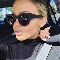 2018 New Cat Eye Femmes lunettes de Soleil Teintées Couleur Lentille Hommes Vintage En Forme de Soleil Lunettes Femme Lunettes Bleu lunettes de Soleil Marque Designer
