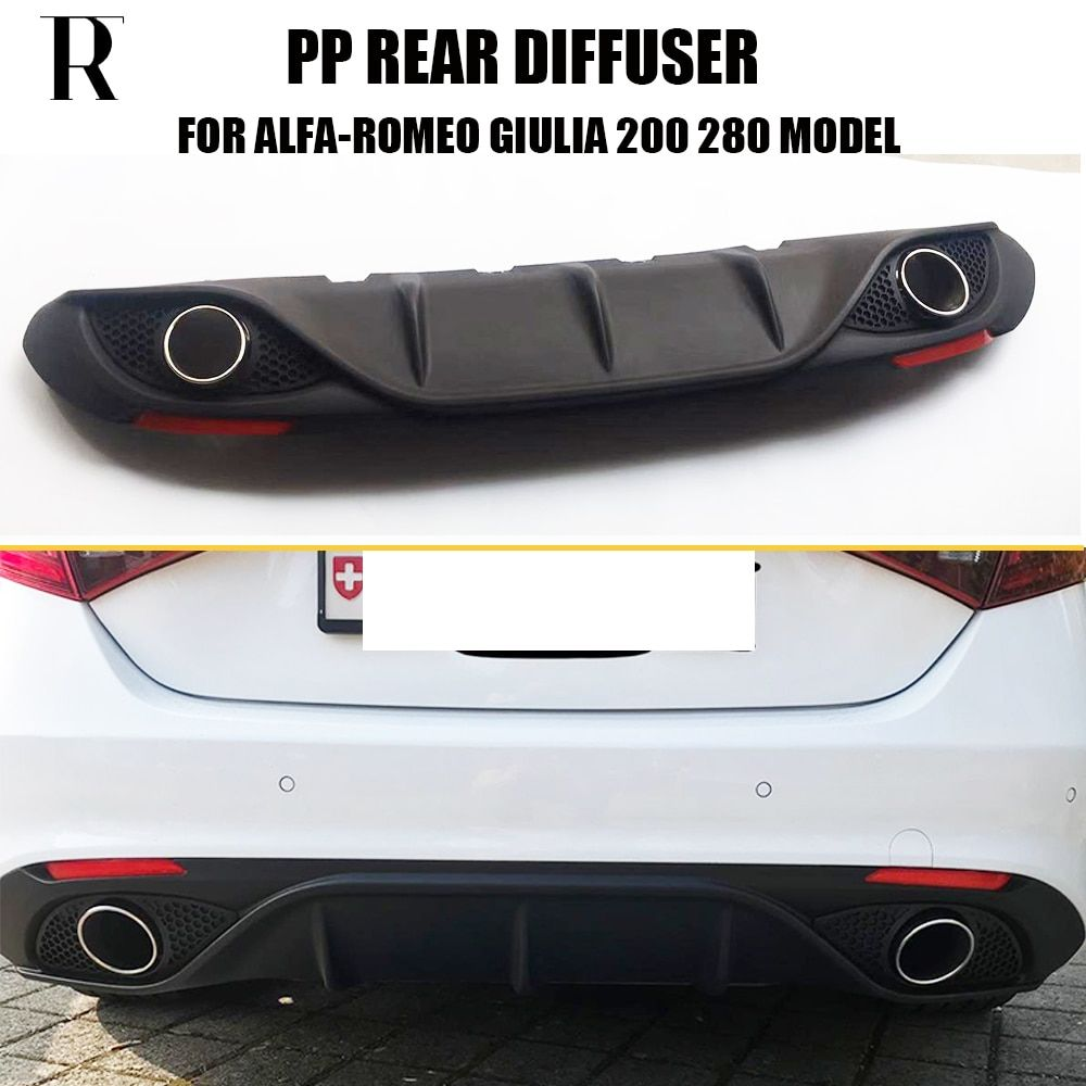 Giulia Change to 2 Outlet PP Rear Bumper Diffuser with Exhaust Tips & Red Reflector for Alfa Romeo Giulia 2016 2017 2018 2019