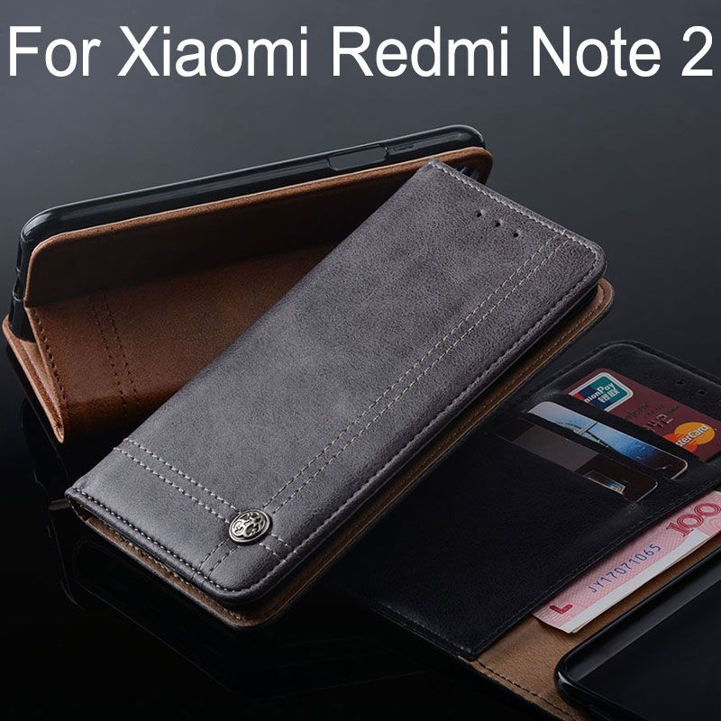 for Xiaomi redmi note 2 case Luxury Leather Flip cover with Stand Card Slot Vintage Case for Xiaomi redmi note 2 Without magnets