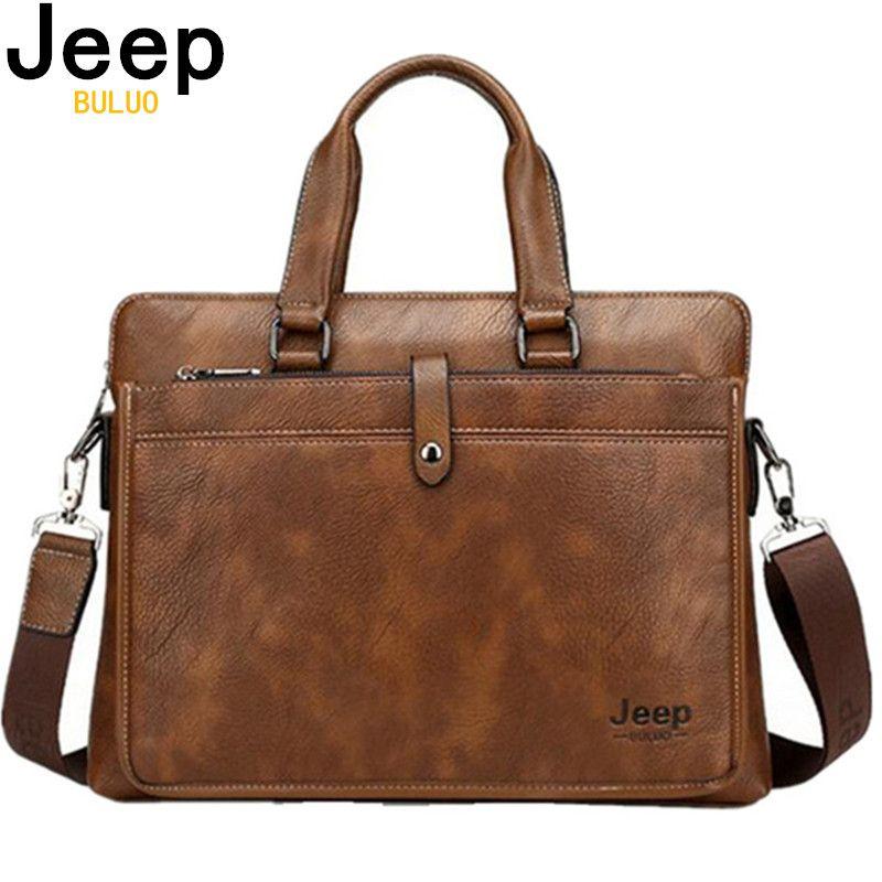 JEEP BULUO Simple marque célèbre affaires porte-documents pour homme de luxe en cuir 14 pouces pochette d'ordinateur homme sac à bandoulière bolsa maleta 9616
