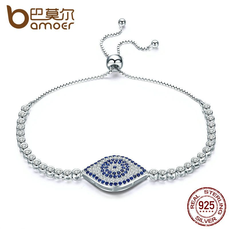 BAMOER Trendy 925 Sterling Silver God s Eyes Tennis Bracelet Clear Cubic Zircon Adjustable Link Chain Bracelets Jewelry SCB004