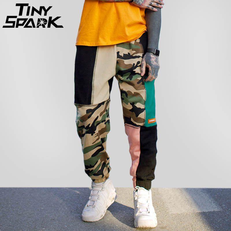 Color Block Patchwork Camouflage Pant Hip Hip Streetwear Harajuku Jogger Sweatpant Cotton Casual Sweat Pant <font><b>Track</b></font> Trousers 2018