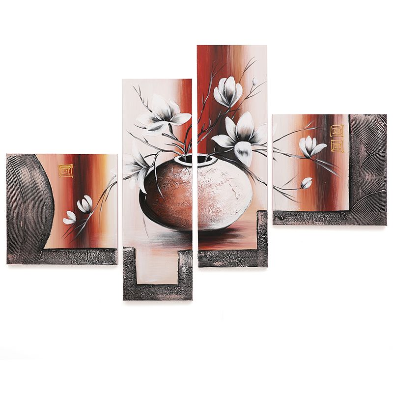 4 Panels Flower Abstract Oil Painting On Canvas 100% Handmade By Artist 3D Wall Art Pictures For Living Room Unframed
