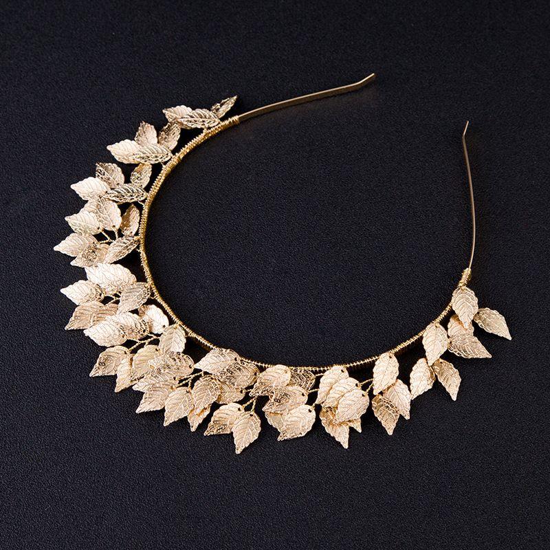Baroque feuille cheveux accessoires argent or métal diadèmes couronnes bandeaux mariage coiffure mariée grec front cheveux bijoux