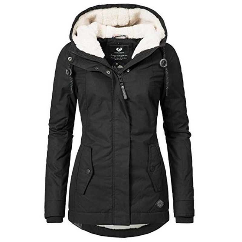 Windproof Slim Outerwear Winter Warm Coat Female Fashion Elastic Waist Zipper Pocket Hooded Drawstring Overcoats Autumn Clothes