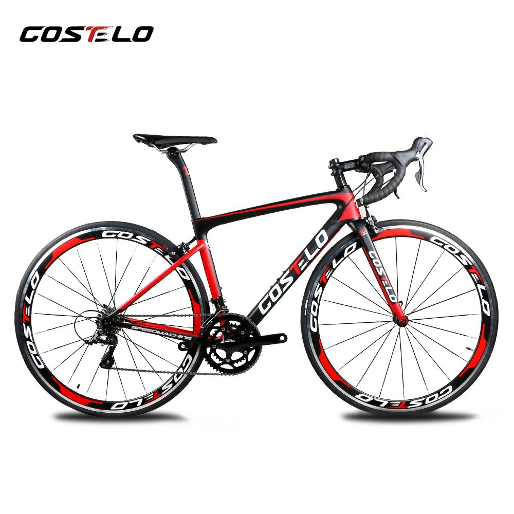 2018 Costelo speedmachine road bicycle carbon bike complete bicycle 40mm wheels 3500 group handlebar stem bici cheap bike