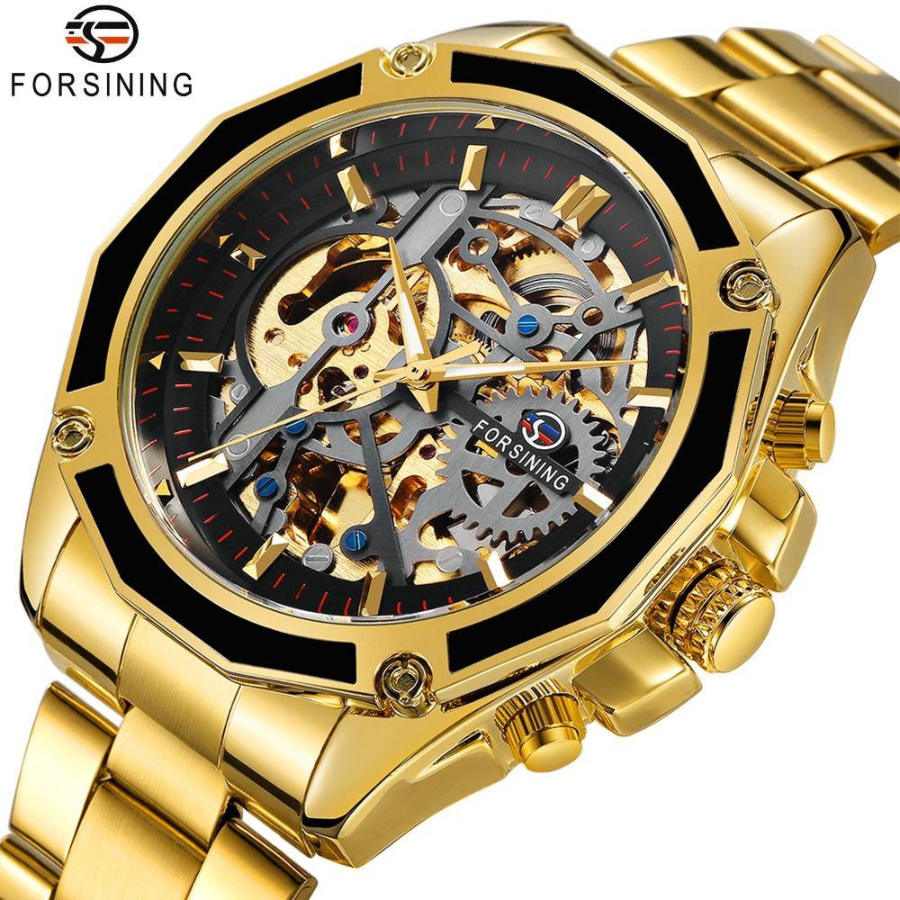 FORSINING Business Watch Men Automatic Mechanical Mens Wataches Top Brand Luxury Solid Strap 3D Skeleton HIP HOP Punk Wristwatch