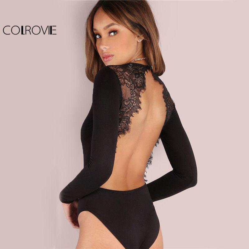 COLROVIE Backless Spitze Patchwork Body Schwarz Sexy Schlanke Frauen Club Sommer Bodysuits 2017 Langarm Dünne Heiße Party Body