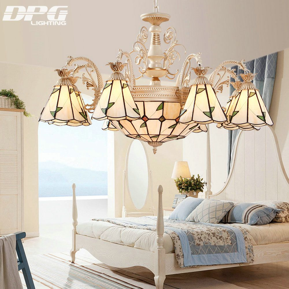 Gold Color Stained Glass Flush Mount Tiffany Lamp Chandeliers lighting led lights with E27 110v 220v for home
