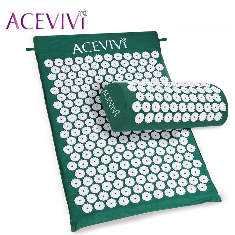 ACEVIVI Body <font><b>Head</b></font> Foot Massager Cushion Acupressure Mat Relieve Stress Pain Acupuncture Spike Yoga Mat With Pillow Drop Shipping