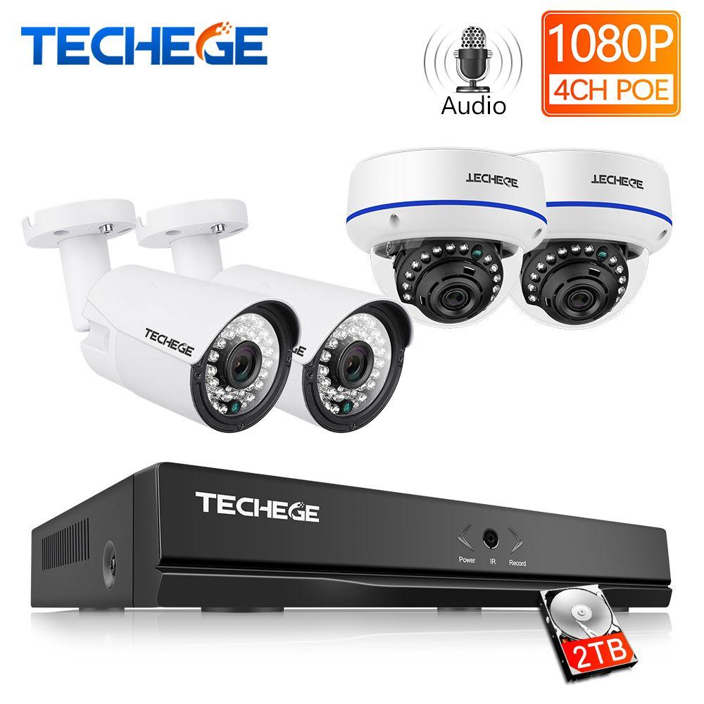 Techege 4CH 1080 P H.265 POE NVR Audio Video System 2MP Indoor Outdoor IP Kamera Wasserdichte E-mail Alarm Video Überwachung system