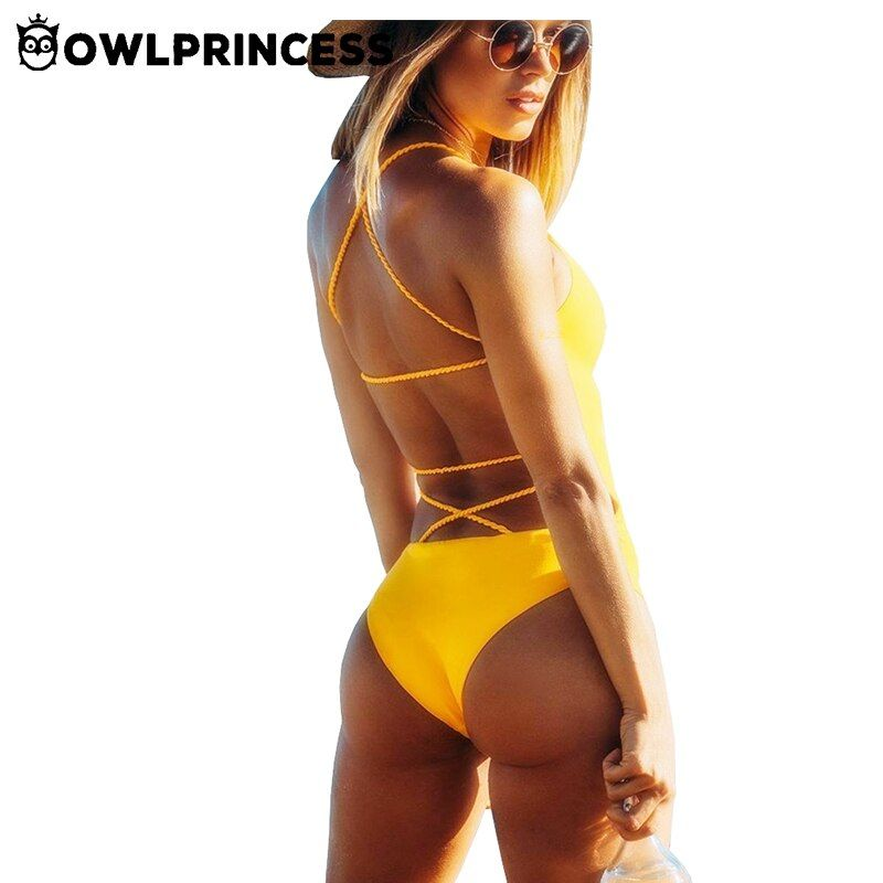 Swimsuit Owlprincess Sexy Women Bathing Suit One Piece Swimwear mujer Bikini Set Backless Swimming Suit Yellow Women's Clothing