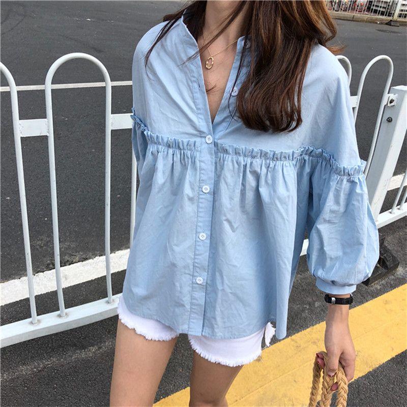 Alien Kitty femmes solide bleu clair chemise douce filles nouveaux hauts d'été lâche décontracté lanterne manches simple boutonnage Blouse Blusas