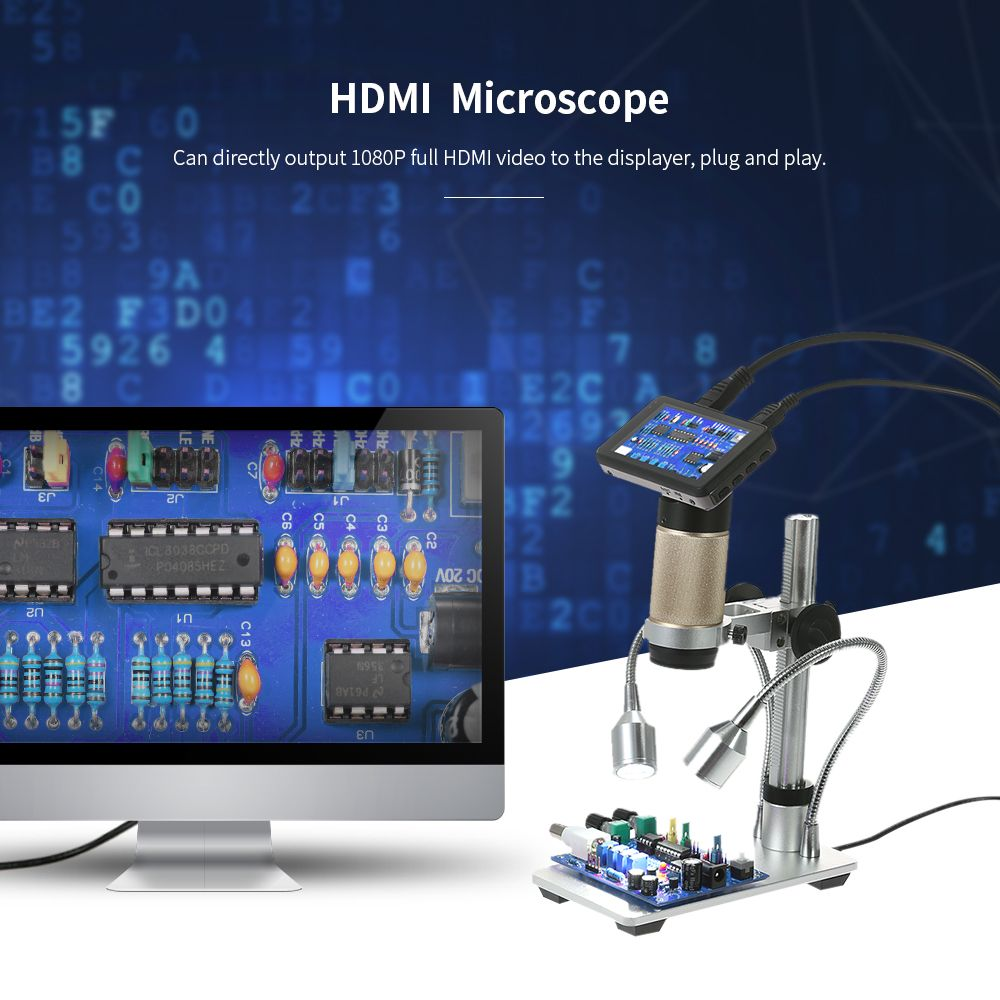 300X HDMI 3.0MP Electronic Digital Video camera Microscope 1080P Soldering Microscope USB Magnifier for Mobile Phone Maintenance