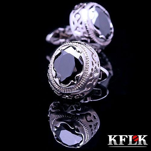 KFLK manchette De chemise de Luxe pour hommes Marque manchette bouton Rétro manchette liens de Haute Qualité Noir abotoaduras l'arrogance gemelos Bijoux