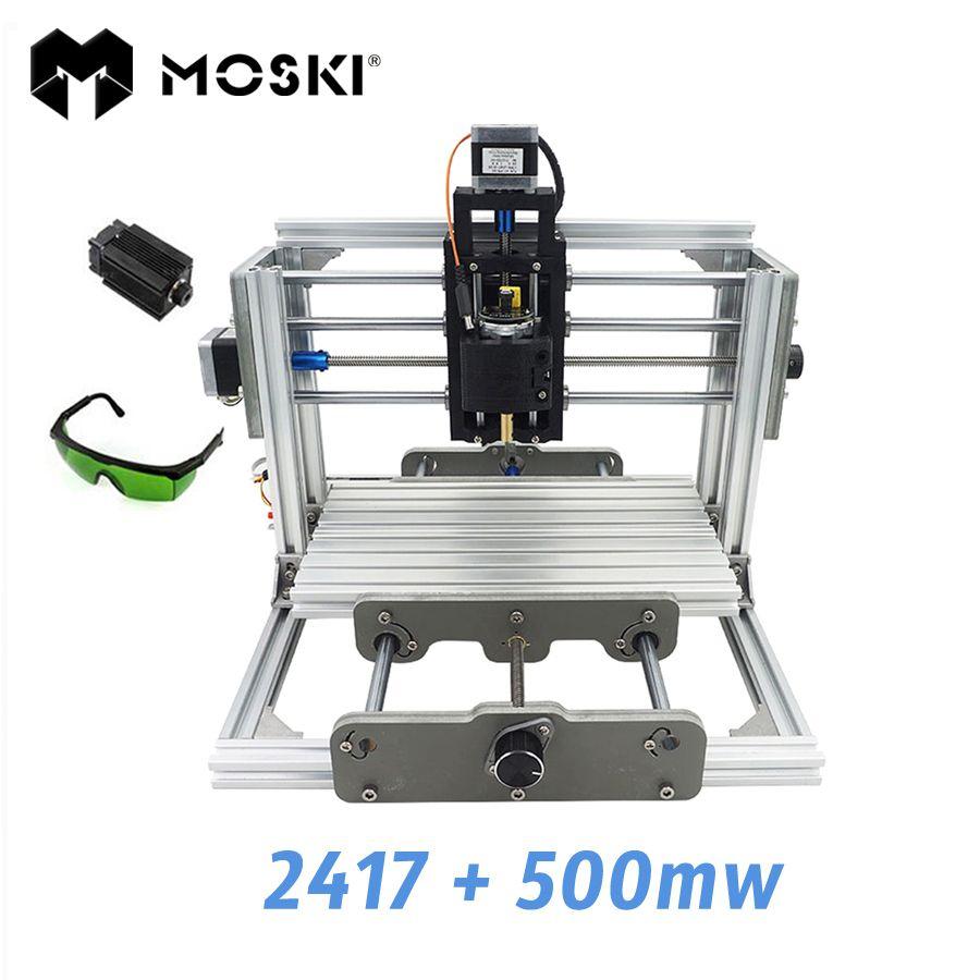 MOSKI ,2417+500mw,diy engraving machine,mini Pcb Pvc Milling Machine,Metal Wood Carving machine,2417,grbl control