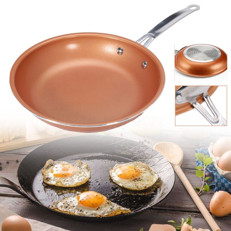 Poêle antiadhésive cuivre poêle rouge en céramique poêle à Induction poêle casserole four et lave-vaisselle 10 pouces poêle antiadhésive