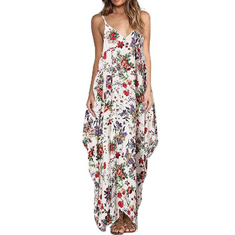 Print Floral Loose Boho Bohemian Beach Dress Women Sexy Strap V-Neck <font><b>Retro</b></font> Vintage Long Maxi Dress Summer 2018 Plus Size 3XL