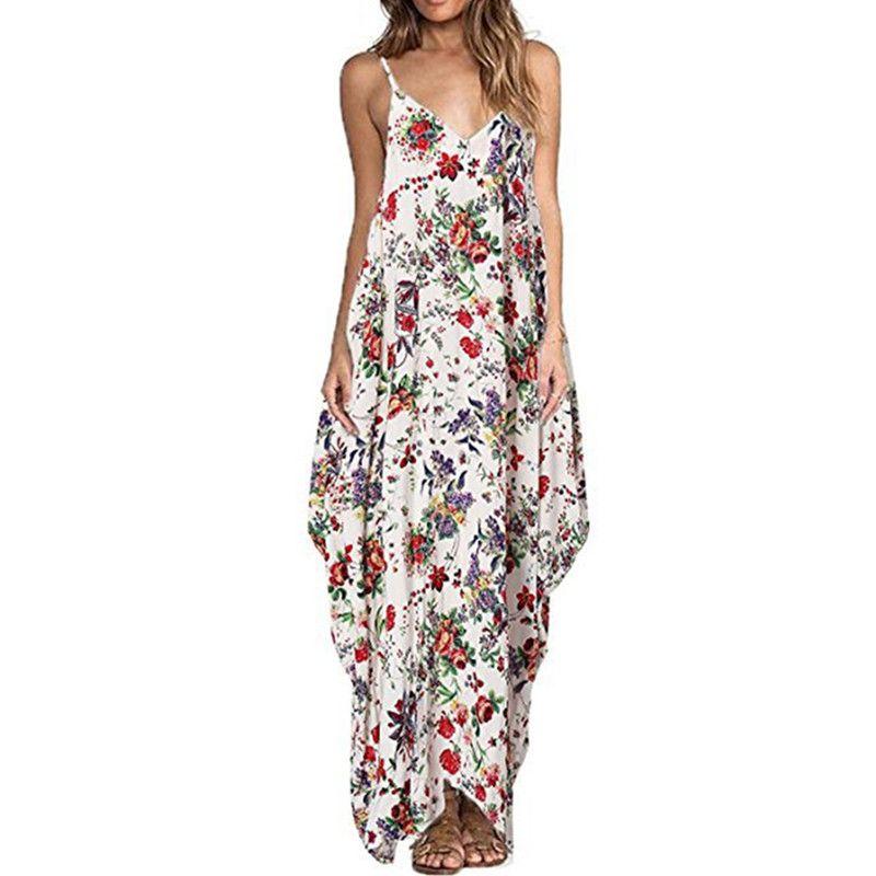 Print Floral <font><b>Loose</b></font> Boho Bohemian Beach Dress Women Sexy Strap V-Neck Retro Vintage Long Maxi Dress Summer 2018 Plus Size 3XL