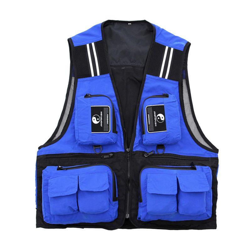 Sport de plein air hommes pêche gilet Multi poche v-cou pêche veste imperméable respirant directeur photojournaliste vêtements