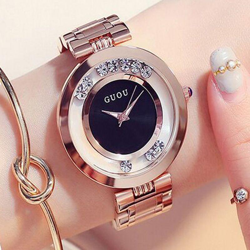GUOU Женские часы женские часы моды роскошный браслет Часы для Для женщин розовое золото горный хрусталь часы Для женщин Reloj Mujer Saat