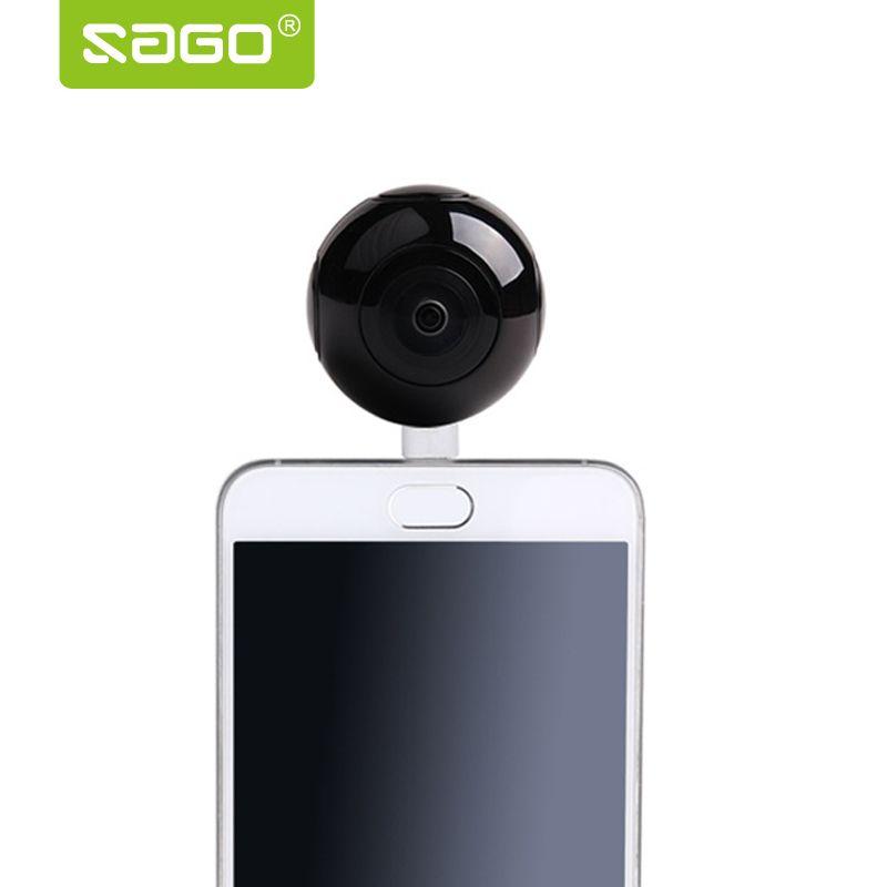 SAGÚ mini 360 cámara de vídeo VR Cámara Panorámica Cámara de Doble Lente de Tipo portátil de bolsillo-c/Micro usb teléfonos PK 360 de aire