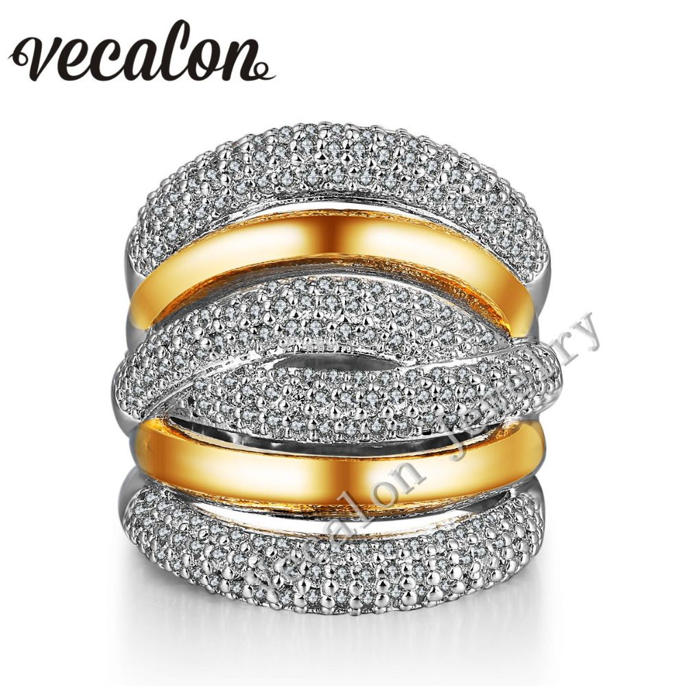 Vecalon 234 unids piedra AAAAA Zircon Cruz Cz anillo de Bodas de Compromiso para Las Mujeres Blanco 14KT Oro Amarillo Llenó de Banda Femenina anillo
